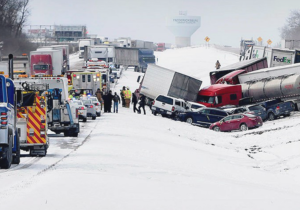 multi vehicle crashes are a frequent occurrence during snow squalls, especially on highways